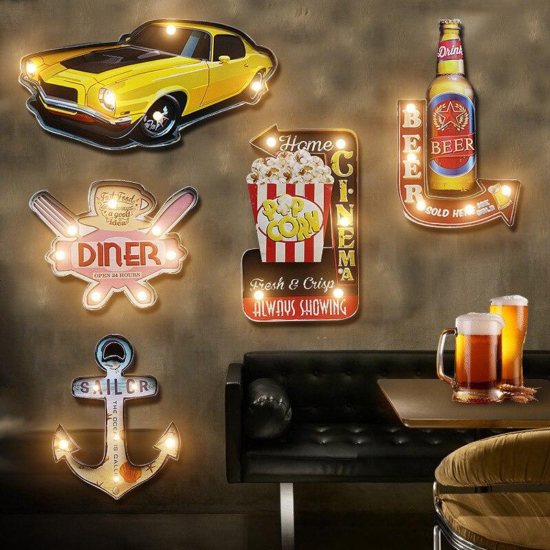 Decoración de pared de hierro forjado retro americano bar Café luces LED adornos creativos decoración del hogar Accesorios decoración de jardín-in Figuras y miniaturas from Hogar y Mascotas    1