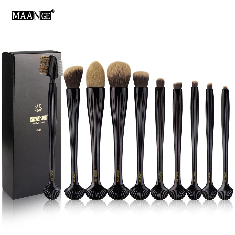 Pro 10pcs Shell Makeup Brush Eyeshadow Brushes Set Powder Foundation Eye Lip Tool & Kits Face Concealer Cosmetic Brush with Box