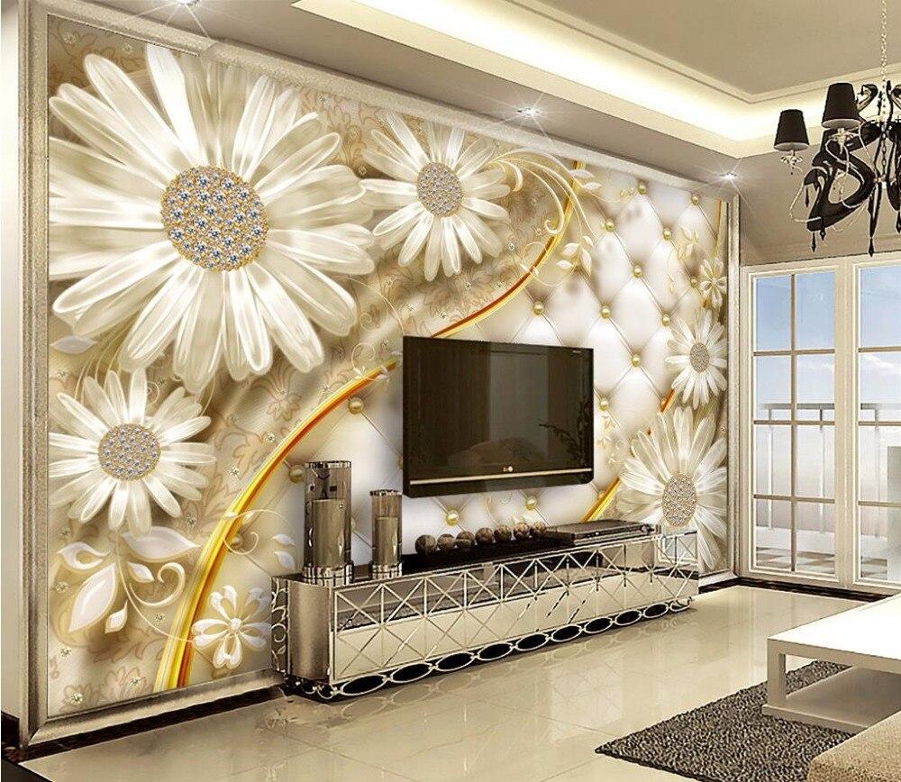 US $10 56 OFF Kustom Kertas Dinding Mural 3d Bunga Wallpaper Untuk Rumah Dinding Wallpaper 3D Untuk Kamar Tidur Wallpaper AliExpress