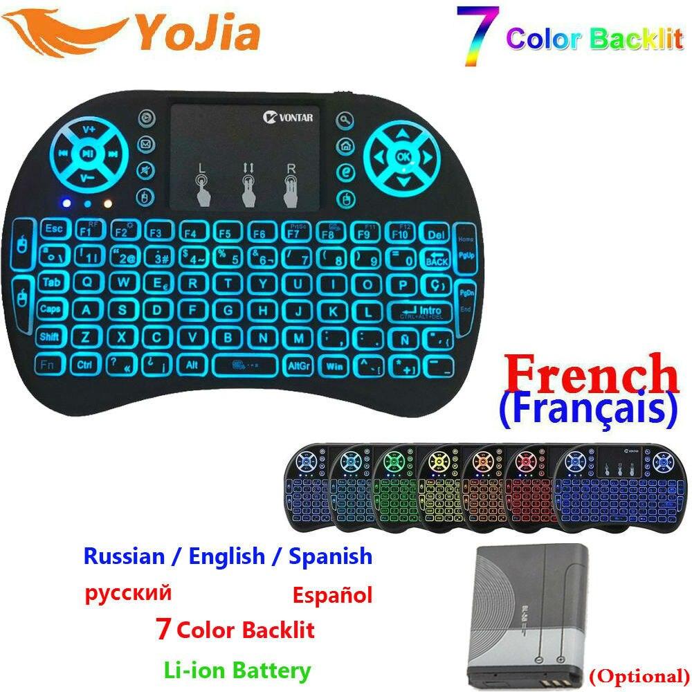7 Color de retroiluminación mini i8 2,4 GHz teclado inalámbrico ruso español inglés español-inglés español portugués español-francés versión Touchpad i8 retroiluminada para Android TV caja