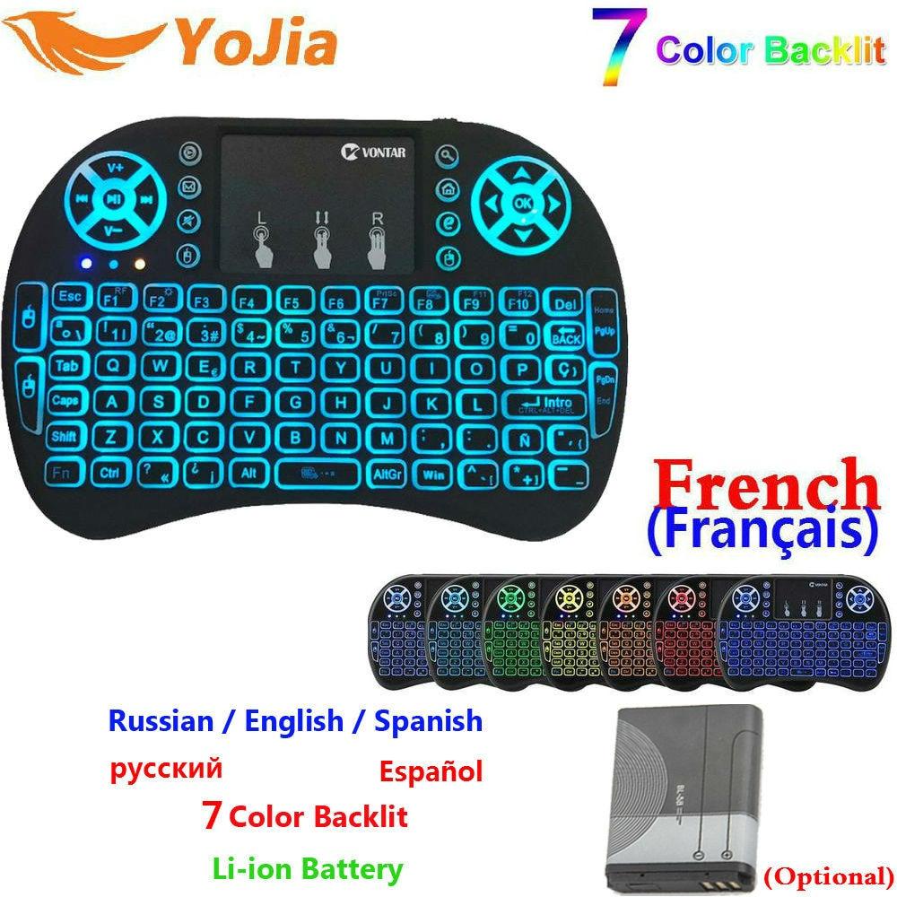 7 farbe Hintergrundbeleuchtung mini i8 2,4 GHz Wireless Tastatur Russisch Spanisch Englisch Französisch Version Touchpad i8 Backlit Für Android TV BOX