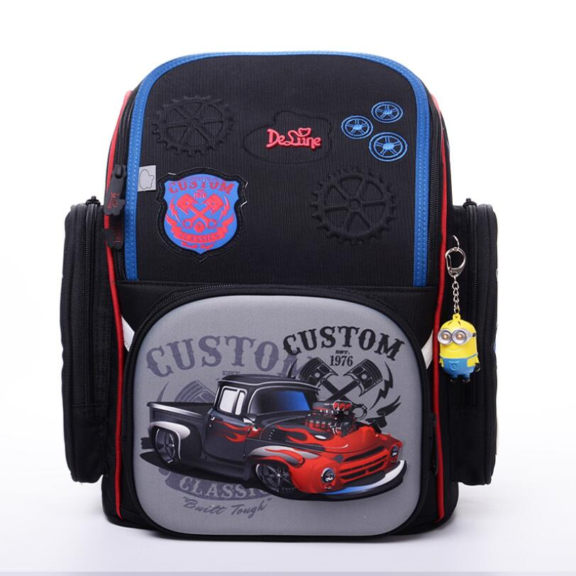 Delune Brand Kids New Orthopedic Backpack 3D Cartoon Schoolbag High Quality Cars Character School Bags Boys school backpack bags
