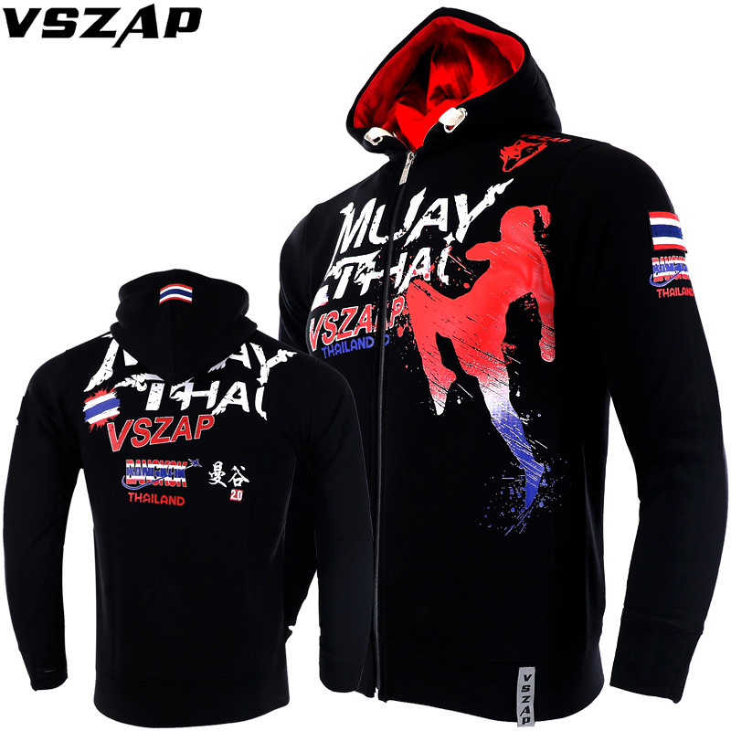 VSZAP MMA Long Sleeve Jacket Hoodies Wolf Head Boxer Keep Warm Breathable Sweatshirts Men Sporting Fighting Jackets Hip Hop