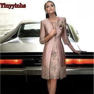 Image 1 - Vestido דה Madrinha אמא של הכלה שמלות הברך אורך 2 חתיכה עם מעיל אמא שמלות מסיבת חתונה באיכות גבוהה שמלת