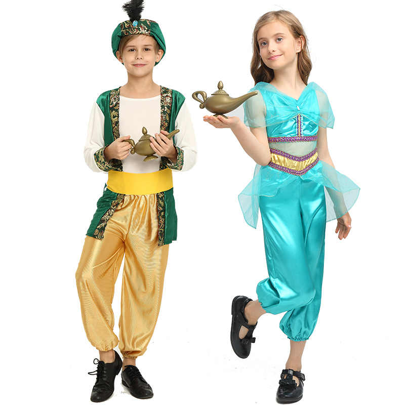 Adult Children Halloween Party Aladdin Costumes Aladdin Lamp Genie Costume Adam Prince Fantasia Boy Party Arab Clothing Kid