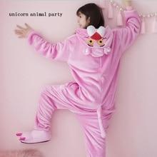 Kigurumi Onesies Cosplay flannel Pink Leopard Pajamas Winter Men And Women Animal Cartoon Sweet Lovely Long Sleeve fox