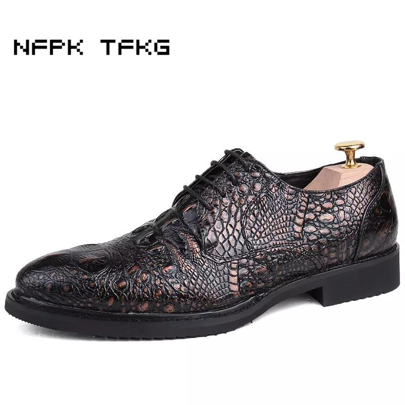 England style men's casual office party dresses comfort cow leather shoes alligator pattern flats oxford shoe spring autumn male leather casual shoes zapatillas hombre casual sapatos business shoes oxford flats hand made man shoe free shipping sv comfort