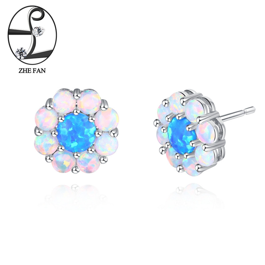 ZHE FAN Women Stud Earrings White Blue Created Fire Opal Rhodium Plating Flower Leaf Shaped For Elegant Engagement Party Gift