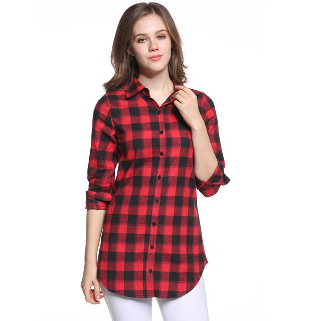 Mulheres Tops de Algodão Plus Size Camisa Xadrez Feminino Camisa de Mangas Compridas Blusas Casuais Camisa Escritório Fino Z68