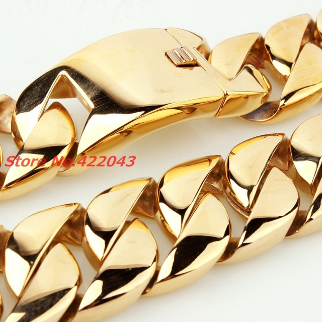 "New Fashion Jewelry 31MM Super Heavy Thick Mens Chain Flat Round Curb Cuban Gold Plated 316L Stainless Steel Necklace 28"" long"