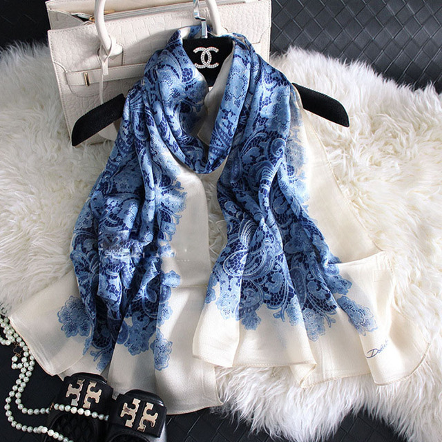 100%Real Silk Lace Printed Women Scarves Luxury Brand Woman Winter Scarf  Sunscreen New Bandanas Pareo Shawls 65x180cm S5