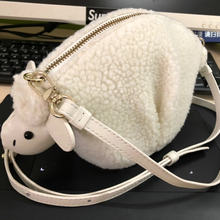 7816ca48e4c9 Customized bigger lamb wool crossbody bag cute animal shaped sheep coin  purse women clutch mini crossbody