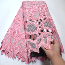 Lace-Fabric Stones French Velvet Organza Handcut African Wedding High-Quality with