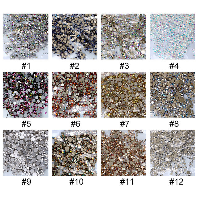 1440 Pcs/Bag Nail Rhinestones AB Color Irregular Beads Mixed Sizes Nail Decoration Stones Shiny Manicure Accessories Tool