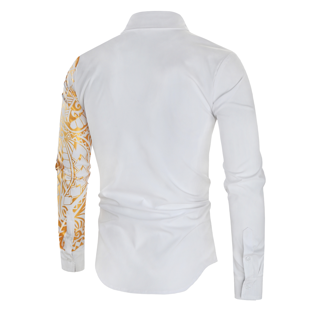 HTB1De8LXa67gK0jSZFHq6y9jVXaO 2021 Luxury Gold Black Shirt Men New Slim Fit Long Sleeve Camisa Masculina Gold Black Chemise Homme Social Men Club Prom Shirt