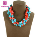 New Fashion 13*15mm Teardrop Turquoise Necklace Twisted Turquoise/Coral Beads Costume Jewelry Free Shipping TN079