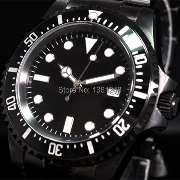 40mm parnis black dial luminous PVD vintage SEA automatic movement mens watch P073 40mm parnis gray dial arabic numeral vintage automatic movement mens watch p43