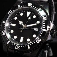 40mm parnis dial negro luminoso PVD vintage mar movimiento automático hombres reloj P073