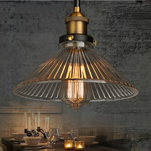 Vintage Industrial Wind Glass Pendant Light Creative Umbrella Style Lampshade E27 Pendant Lamp Hang Lamp For Restaurant Bar Cafe