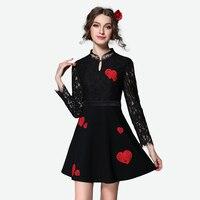 2016 Women Long Sleeve Little Black Dress Vestido De Renda A Line Lace Party Dress Plus