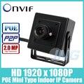 POE HD 1920x1080 P 2.0MP IP Indoor Camera Mini câmeras de Segurança do Tipo de Metal Câmera ONVIF P2P IP CCTV Cam sistema (frete Grátis)