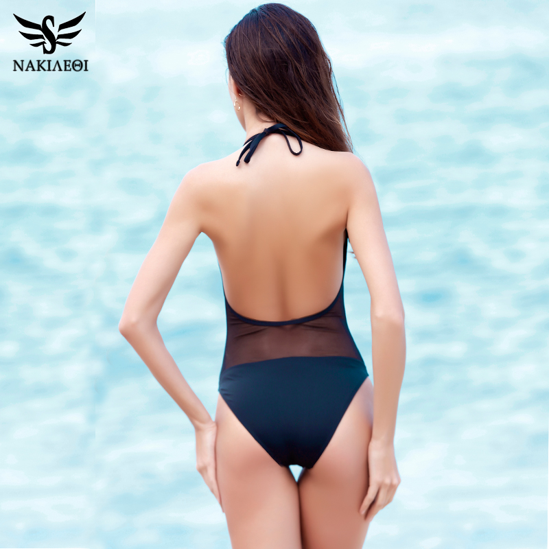 NAKIAEOI One Piece Swimsuit Women Sexy Mesh Swimwear Patchwork Bodysuit Bathing Suit 2018 Newest Monokini Beach Swimming Suit 3