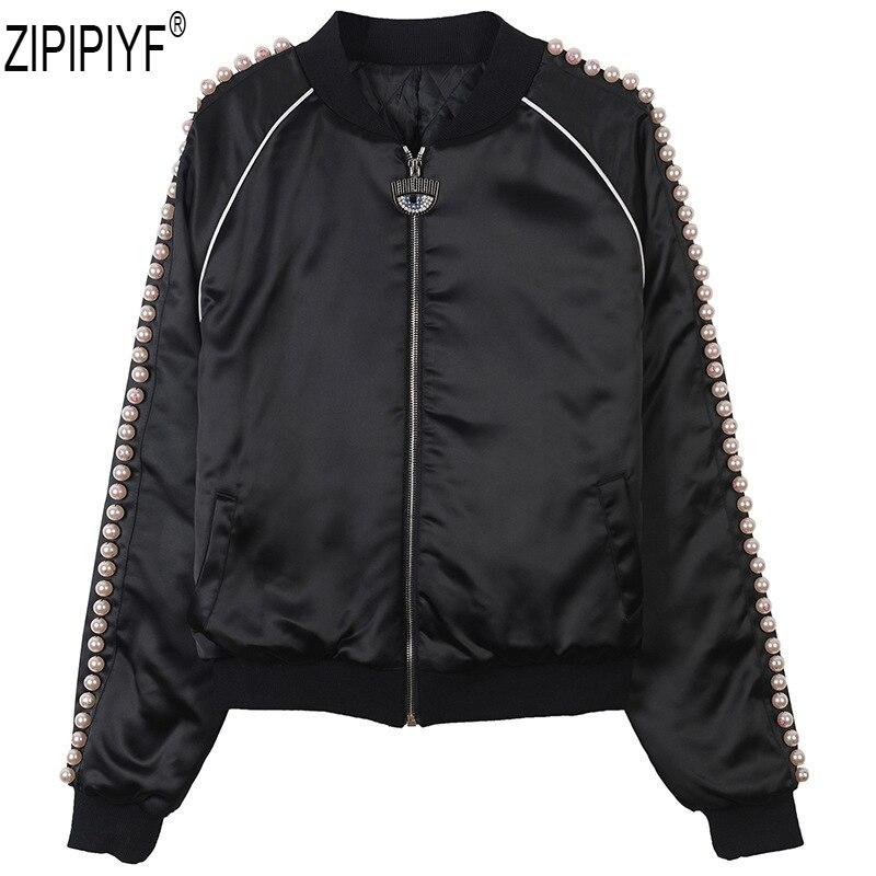 C2406 Zipper Veste Femmes Noir Poires 2018 Longues De Qualité Piste Manches Perles Manteau Nouveau Automne Imprimer O Mode Haute cou OqU85wH