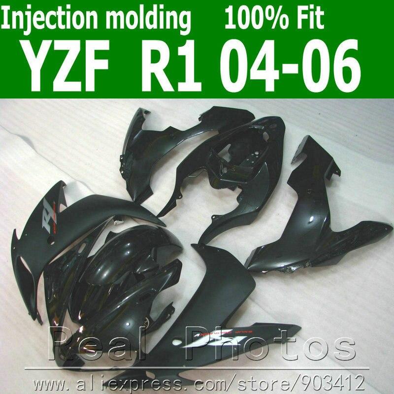 100% carenado moldeado por inyección kit de cuerpo para YAMAHA R1 2004, 2005 de 2006 negro Juego de carenados 04 05 06 YZF R1 AS11 Kit aerodinámico de 2 uds. Para motocicleta, Kit de alas para Honda NC, CB, CBR, Kawasaki, Ninja ZR, ZX, Yamaha y YZF, en blanco, negro y rojo