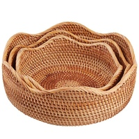 Handmade Rattan Round Fruit Basket Food Storage Bowls Kitchen Organizer Snack Serving Bowl (3 Size Kit)