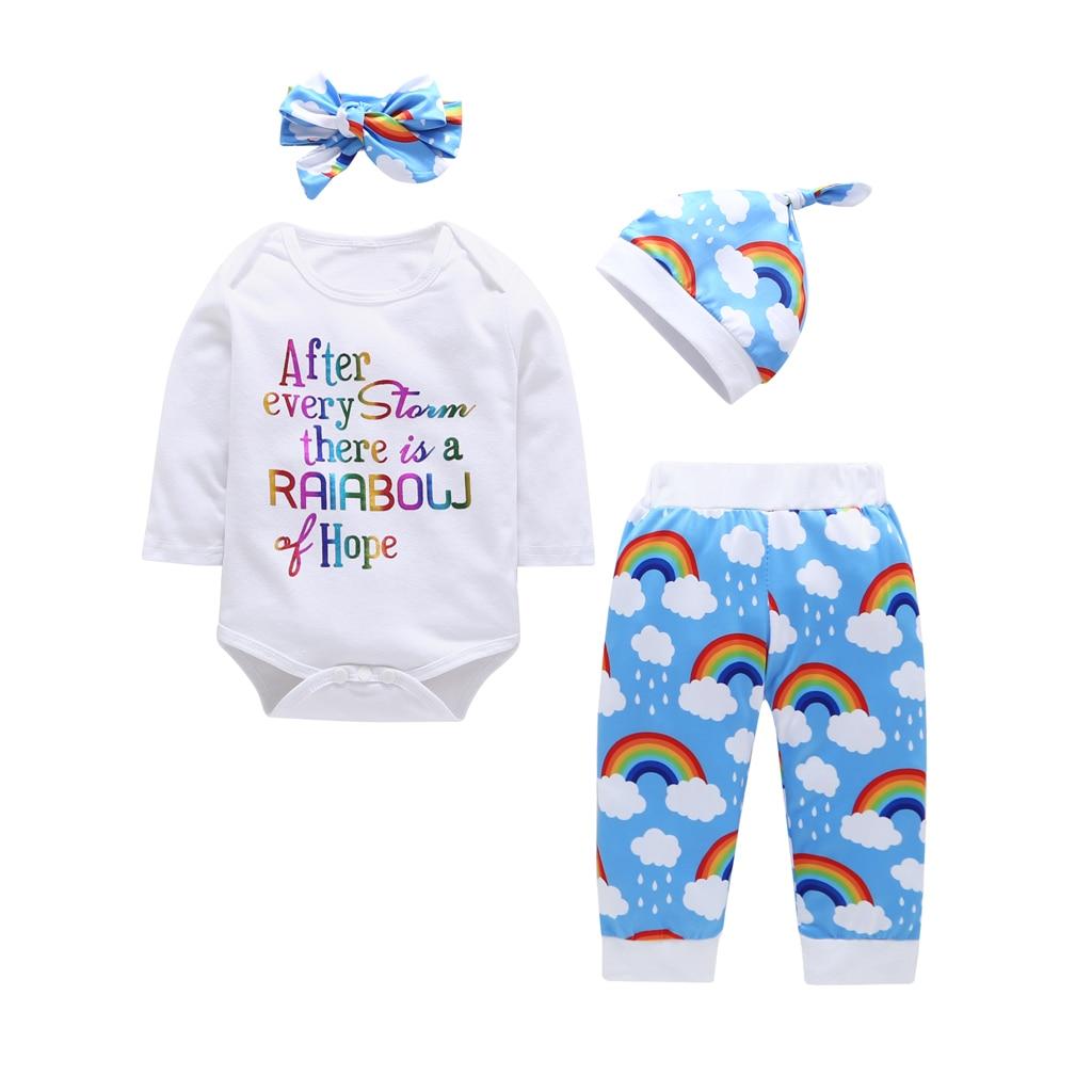 4PCS Newborn Baby Girl Kid Top Romper Leopard Pants Headband Outfits Set Clothes