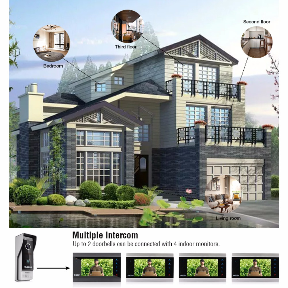Купить с кэшбэком TMEZON 7 Inch Wireless Wifi Smart IP Video Door Phone Intercom System with 2 Night Vision Monitor + 1 Rainproof Doorbell Camera