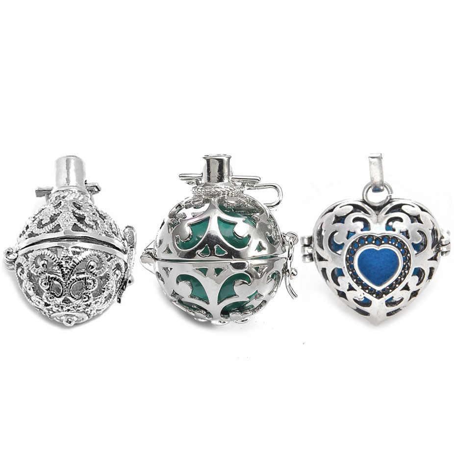 5 stücke Hohl Ball Box Kupfer Vintage Käfig Diffusor Halskette Medaillon Anhänger Für DIY Ätherisches Öl Parfüm Sound Halskette