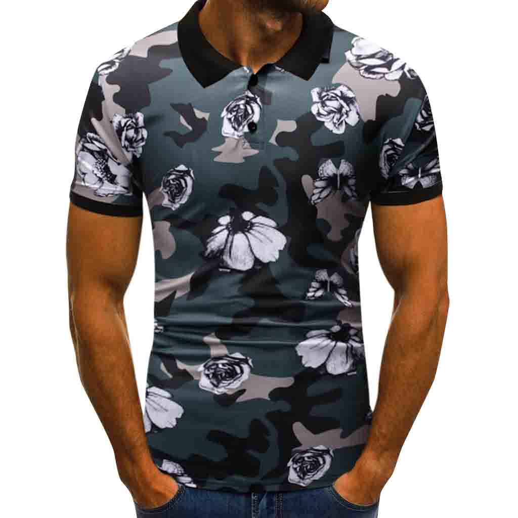Polo   Shirts Men Desiger Flower Short Sleeve shirt Clothes jerseys Golf Summer Casual Print Button Top Blouse 2019   Polo   Shirts