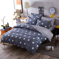 Super Soft bedding sets white star clouds plaid twin/full/queen/kingsize duvet cover bed sheet pillowcase bed linen bedclothes