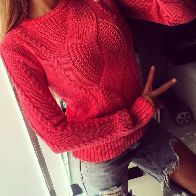 TAOVK Knitted Sweater Pullovers Collar Women Casual Round Twist Solid