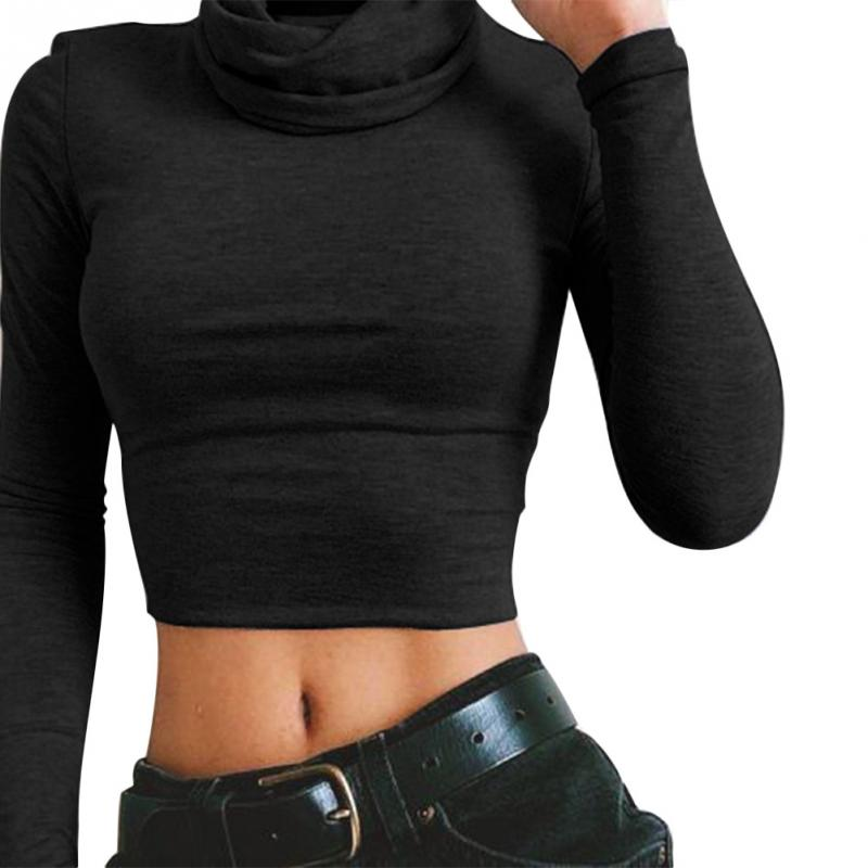 Women Spring Sexy Long Sleeve High Collar Exposed-Waist Solid Color Short T-shirt