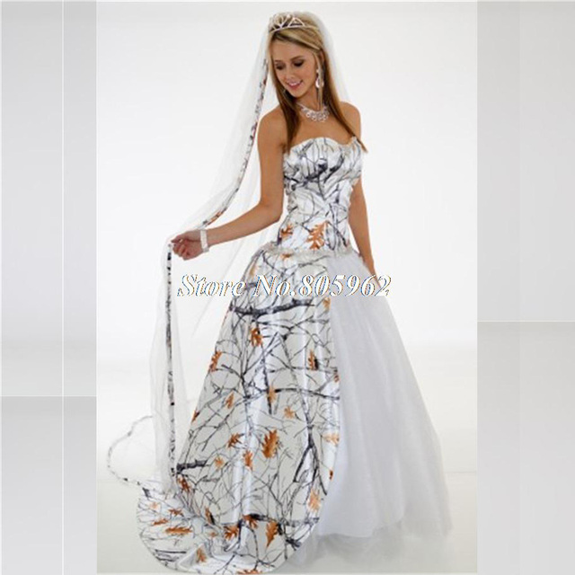White Camo Wedding Dresses 2016 Sweep Train Ball Gown Camouflage ...