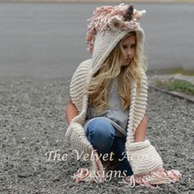 Scarf-Set Cartoon-Pattern Children's Turban Thick And Unicorn-Shape All-In-One-Hat Knitted