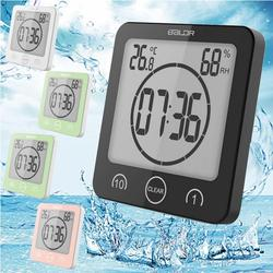 LCD Digital Waterproof Wall Hanging Clock Antifog Bathroom Thermometer Humidity Meter Suction Kitchen Timer Bath Shower Clock