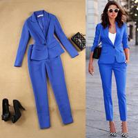Pink 2 Pieces Pant Suit Women Formal White Suit Female Office Slim Ladies Interview Suits One Button Pants And Blazer Set Womens