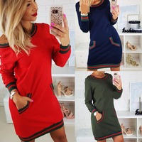2017 Yeni gelenler rahat sonbahar elbise kırmızı mavi armygreen uzun kollu çizgili mini gömlek elbise kış elbiseler uzun kollu