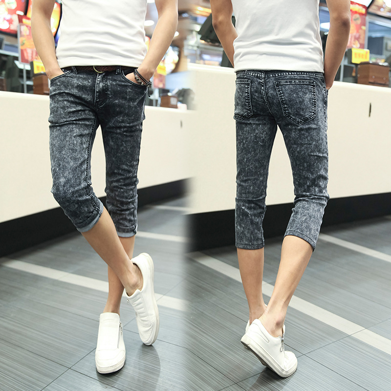 Fashion 2020 Summer Casual Youth Skinny Capri Jeans Men Hip Hop Students Foot Grey Stretch Teenagers Breeches Slim Fit Pants