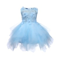 badd225ed7 Baby Girl Baptism Dresses Appliques Blue Tulle Toddler Girl Christening  Gown Infant Party Dress For Little
