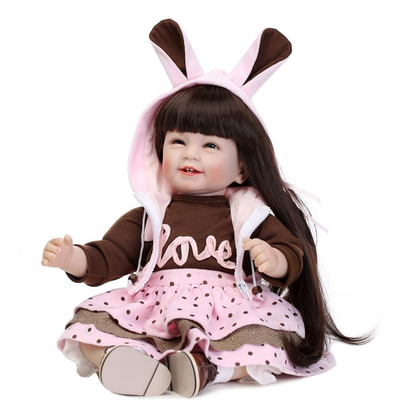 Nicery 22inch 55cm Lifelike Reborn Baby Lovely Girl Doll High Vinyl Christmas Toy Gift for Children Pink Brown Rabbit Dress nicery 18inch 45cm reborn baby doll magnetic mouth soft silicone lifelike girl toy gift for children christmas pink hat close