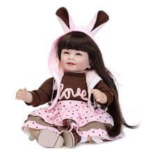 Nicery 22inch 55cm Lifelike Reborn Baby Lovely Girl Doll High Vinyl Christmas Toy Gift for Children Pink Brown Rabbit Dress