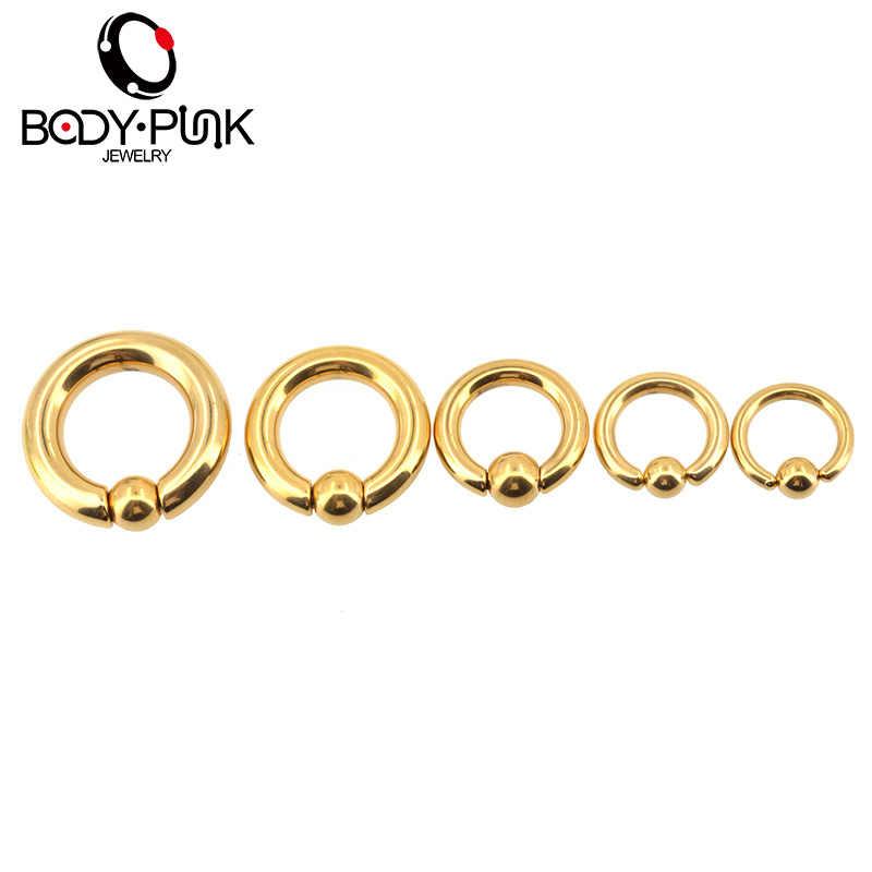 KÖRPER PUNK Gold Stecker und Tunnel Ohr Piercing Gewichte Keil Expander Ohr Gauge BCR Captive Ball Closure Nase Septum Ring 6mm