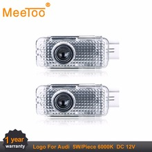 MeeToo 2pcs For AUDI Car Door LED Ghost Shadow Light Audi Logo Projector Courtesy Lights Auto Backlight Car Styling Welcome Lamp