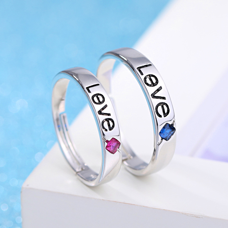 100 925 sterling silver fashion love ring hot style jewelry lovers adjustable size crystal wedding rings drop shipping in Wedding Bands from Jewelry Accessories