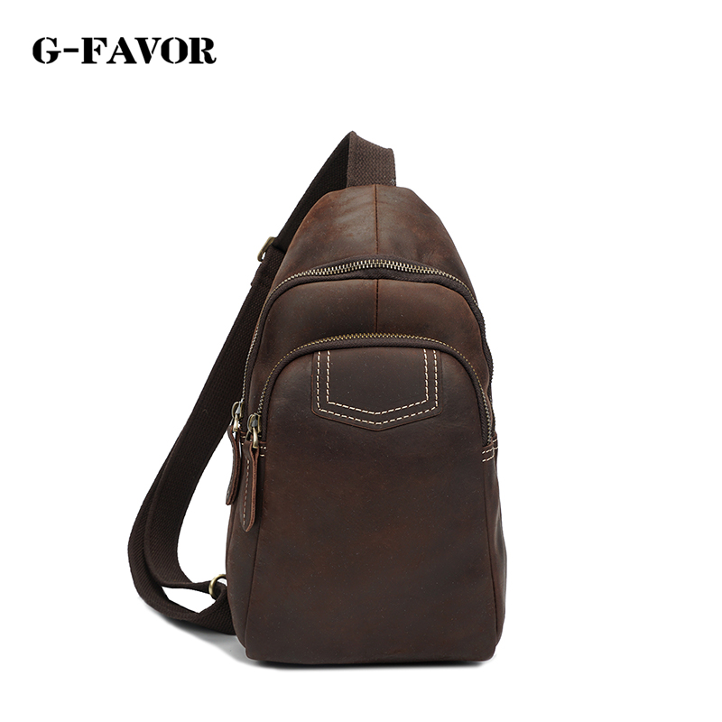 G-FAVOR Famous Brand Bag Men Chest Pack Sling Single Shoulder Strap Pack Bag Genuine Leather Travel Bag Men Fashion Chest Bag все цены