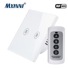 MXAVNI EU/UK Standard Touch Switch, 2 Gang 1 Way Wall Lamp Luxury Crystal Glass Switch Panel LED